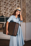 Girl was upset because she late in a travel. Royalty Free Stock Images
