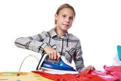 Girl with washed linen around ironing board and iron isolated Stock Image