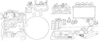 Girl washes in bath tub, little girl in the kitchen preparing a cake,Chine drawn by color Royalty Free Stock Photo