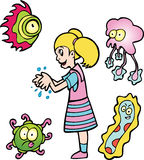 Girl Washes Hands. A girl washes her hands to keep away germs Royalty Free Stock Images