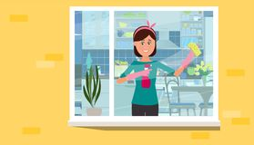 The girl washes the window in the apartment. Vector flat illustration. Vector illustration. Painted in shape stock illustration