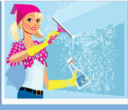 Girl washes a window wiper in gloves Stock Photography