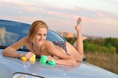 Girl Washing Car Royalty Free Stock Photography