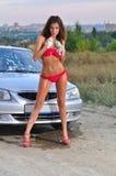 Girl Washing Car Stock Image
