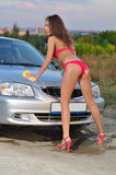 Girl Washing Car Royalty Free Stock Images