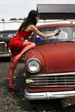 Girl washing  car Royalty Free Stock Photography