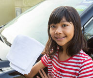Girl Washing Car VIII Stock Photos