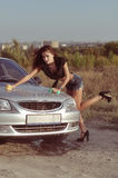 Girl Washing Car Stock Image