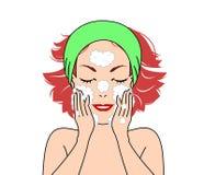 Girl washing face Royalty Free Stock Image