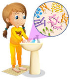 Girl washing hands in the sink stock illustration