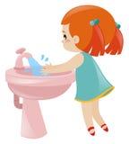 Girl washing hands in sink. Illustration vector illustration