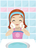 Girl washing her face. Vector illustration of a girl washing her face Royalty Free Stock Photo