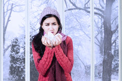 Girl waste tissue for cough and sneeze. Portrait of pretty girl holding many tissue on her hands for cough and sneeze in winter day Stock Photography