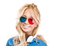 Girl watching 3d movie. Royalty Free Stock Photography