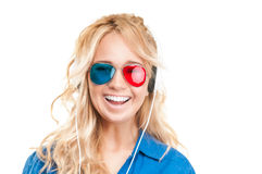 Girl watching 3d movie. Stock Photography