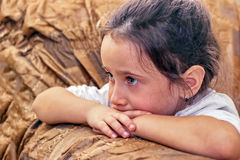 Girl watching cartoon Royalty Free Stock Images