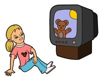 Girl watching cartoons in TV royalty free stock photography