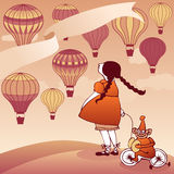 Girl watching hot air balloons Royalty Free Stock Photography