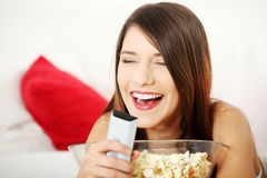 Girl watching movie Royalty Free Stock Photo
