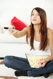 Girl watching movie Stock Photography