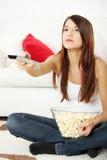 Girl watching movie Stock Photography