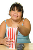 Girl Watching Movie Royalty Free Stock Images