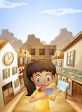 A girl watching the pictures while standing near the saloon bars vector illustration