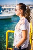 Girl watching sea royalty free stock photos