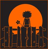 Girl watching sunset or moon. An orange and black illustration of a little girl, sitting on a fence and watching the sunset or full moon Royalty Free Stock Photos