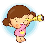 Girl is watching telescope. Education and life Character Design Stock Photos