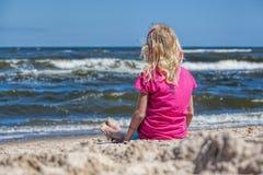 Free Girl Watching The Seawaves Stock Image - 32487651