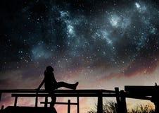 Free Girl Watching The Stars Stock Image - 87114141