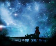 Free Girl Watching The Stars In Night Sky Stock Image - 156239641