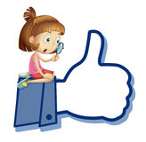 Girl watching thumb picture royalty free illustration