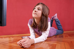 Girl Watching Tv Stock Photos