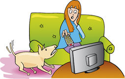 Girl watching tv and dog Stock Photo