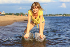 Girl in water. Stock Photos