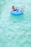 Girl in the water. A girl in bikini is in the water royalty free stock photos