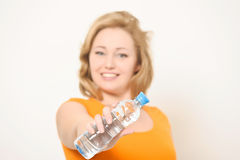 The girl with a water bottle Stock Photos
