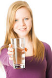 Girl with water glass Royalty Free Stock Photos