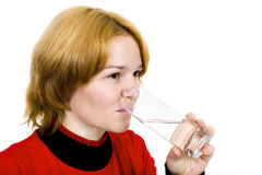 Girl with a water glass royalty free stock images