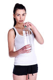 Girl with water isolated Stock Image