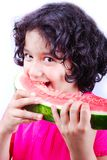 Girl and water melon Royalty Free Stock Images