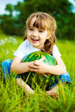 Girl with water-melon Royalty Free Stock Photography