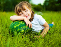 Girl with water-melon Stock Image