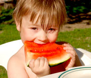 Girl and water-melon Stock Photography