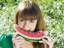 Girl with water-melon Stock Photo