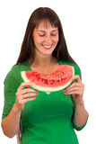 Girl with water-melon Stock Photos