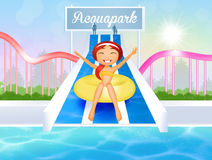 Girl in water park Royalty Free Stock Image
