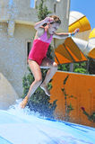 Girl in the water park royalty free stock photography